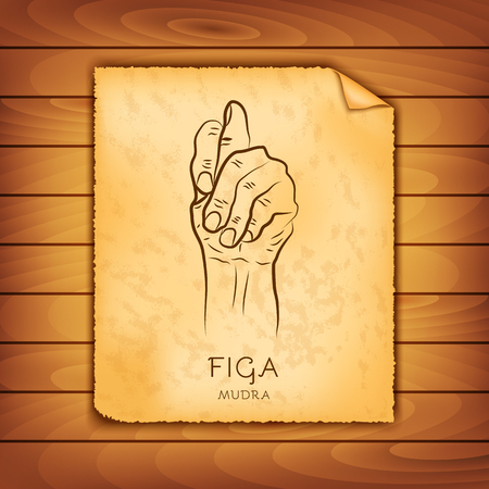 Ancient papyrus with the image of Figa-mudra on a wooden background. Symbol in Buddhism or Hinduism concept. Yoga technique for meditation. Promote physical and mental health. Vector illustration