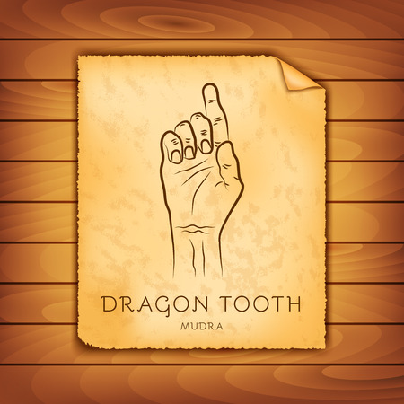 Ancient papyrus with the image of Dragon Tooth mudra on a wooden background. Symbol in Buddhism or Hinduism concept. Yoga technique for meditation, physical and mental health. Vector illustration Illustration