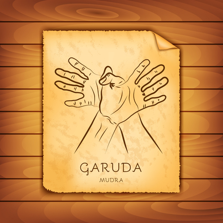 Ancient papyrus with the image of Garuda-mudra on a wooden background. Symbol in Buddhism or Hinduism concept. Yoga technique for meditation. Promote physical and mental health. Vector illustration