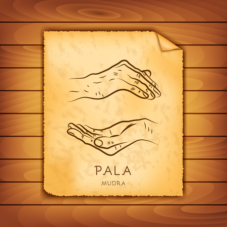 Ancient papyrus with the image of Pala-mudra on a wooden background. Symbol in Buddhism or Hinduism concept. Yoga technique for meditation. Promote physical and mental health. Vector illustration