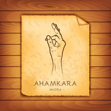 Ancient papyrus with the image of Ahamkara-mudra on a wooden background. Symbol in Buddhism or Hinduism concept. Yoga technique for meditation. Promote physical and mental health. Vector illustration