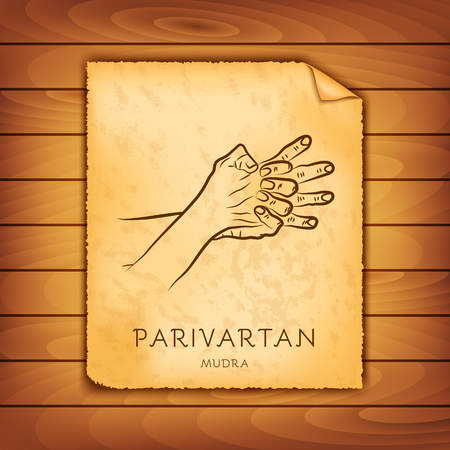 Ancient papyrus with the image of Parivartan-mudra on a wooden background. Symbol in Buddhism or Hinduism concept. Yoga technique for physical and mental health. Vector illustration
