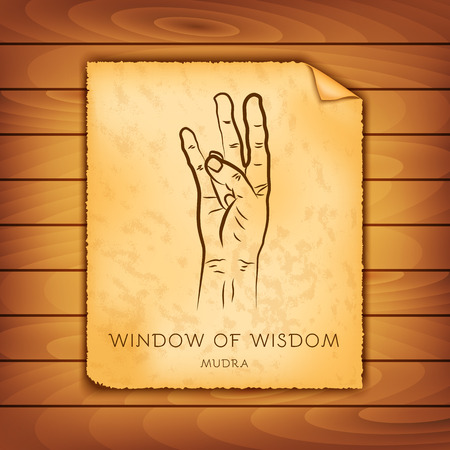Ancient papyrus with the image of Window of wisdom mudra on a wooden background. Symbol in Buddhism or Hinduism concept. Yoga technique for physical and mental health. Vector illustration Illustration