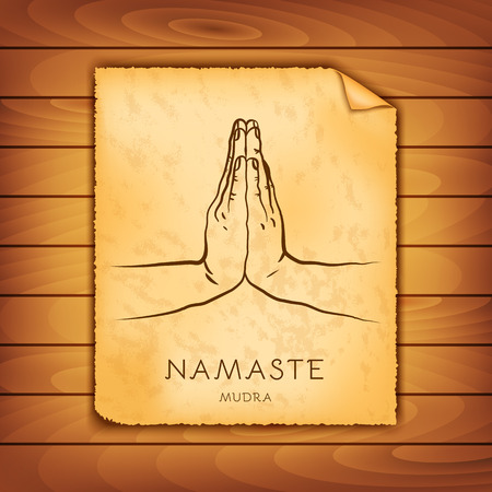 Ancient papyrus with the image of Namaste-mudra on a wooden background. Symbol in Buddhism or Hinduism concept. Yoga technique for meditation. Promote physical and mental health. Vector illustration