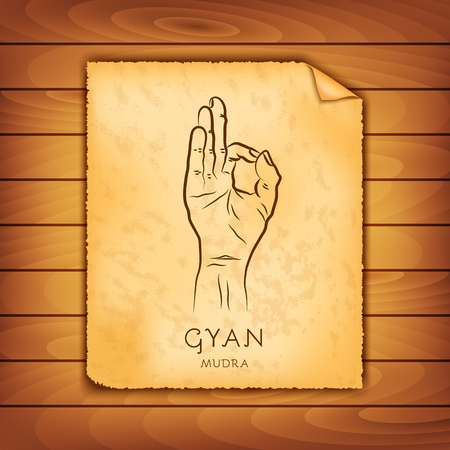 Ancient papyrus with the image of Gyan-mudra on a wooden background. Symbol in Buddhism or Hinduism concept. Yoga technique for meditation. Promote physical and mental health. Vector illustration