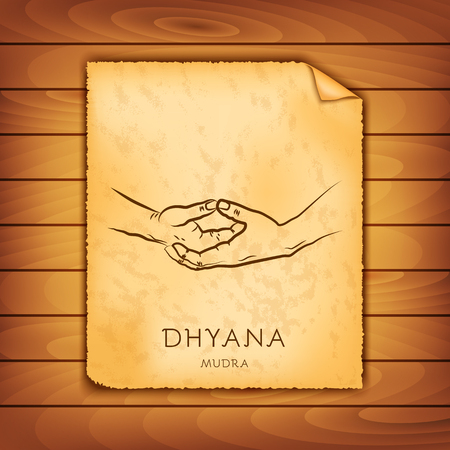Ancient papyrus with the image of Dhyana-mudra on a wooden background. Symbol in Buddhism or Hinduism concept. Yoga technique for meditation. Promote physical and mental health. Vector illustration