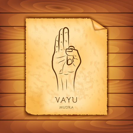 Ancient papyrus with the image of Vayu-mudra on a wooden background. Symbol in Buddhism or Hinduism concept. Yoga technique for meditation. Promote physical and mental health. Vector illustration Stock Illustratie