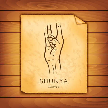 Ancient papyrus with the image of Shunya-mudra on a wooden background. Symbol in Buddhism or Hinduism concept. Yoga technique for meditation. Promote physical and mental health. Vector illustration