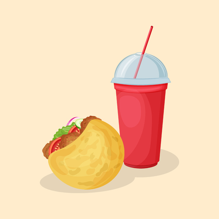 Falafel in pita and soda water in a red cup - cute cartoon colored picture. Graphic design elements for menu, poster, ad. Vector illustration of fast food for bistro, snackbar, cafe or restaurant Imagens - 122499966