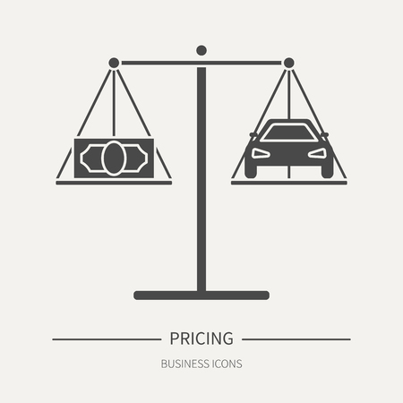 Pricing - business icon in flat style. Graphic design elements for ad, apps, website,packaging, poster or brochure. Vector illustration