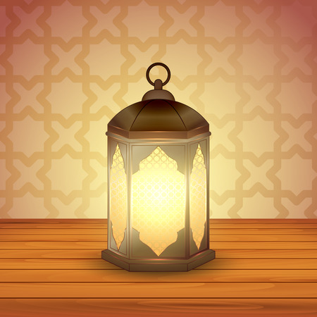 Islamic lantern on wooden table for Muslim Community festival. Bright beautiful arabic lamp. Graphic design element for greeting card, invitation, flyer, banner. Vector illustration Ilustrace