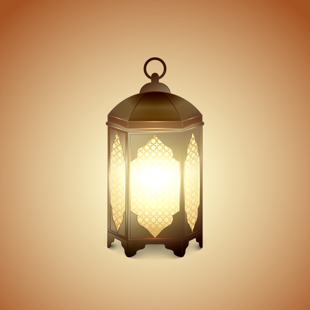 Islamic lantern for Muslim Community festival. Bright beautiful arabic lamp. Graphic design element for greeting card, invitation, flyer, banner. Vector illustration Illustration