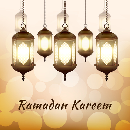 Ramadan Kareem - greeting card with islamic lanterns on golden bokeh background for Muslim Community festival. Bright arabic lamps. Graphic design element for invitation, flyer. Vector illustration