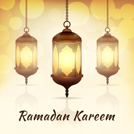 Ramadan Kareem - greeting card with islamic lanterns on yellow bokeh background for Muslim Community festival. Bright arabic lamps. Graphic design element for invitation, flyer. Vector illustration