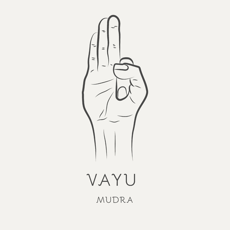 Vayu mudra - gesture in yoga fingers. Symbol in Buddhism or Hinduism concept. Yoga technique for meditation. Promote physical and mental health. Vector illustration