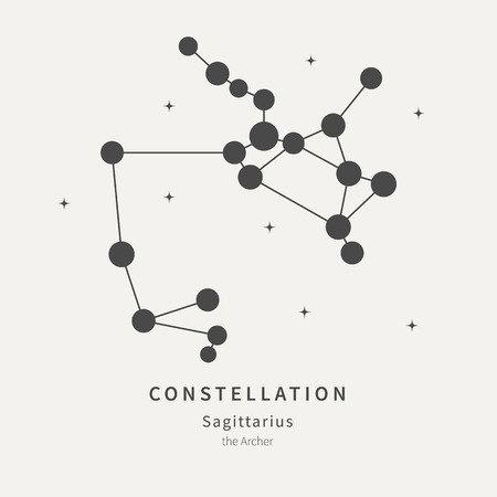 The Constellation Of Sagittarius. The Archer - linear icon. Vector illustration of the concept of astronomy