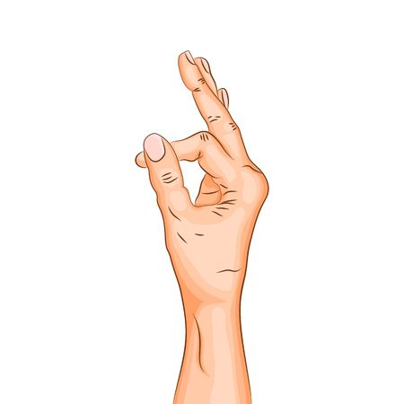 Ahamkara mudra - gesture in yoga fingers. Symbol in Buddhism or Hinduism. Yoga technique for meditation. Realistic colored hand in gesture. Promote physical and mental health. Vector illustration