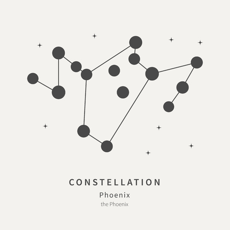 The Constellation Of Phoenix. The Phoenix - linear icon. Vector illustration of the concept of astronomy Ilustrace