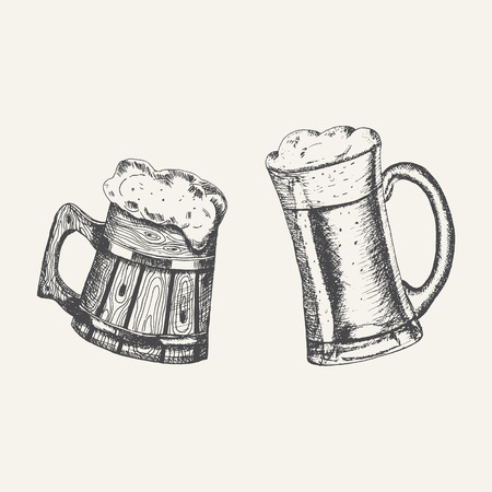 Glass and wooden mugs with beer and beer foam overflowing over the edge on white background. Hand drawn sketch in vintage engraving style. Light Alcohol Drink. Vector illustration for Oktoberfest Çizim