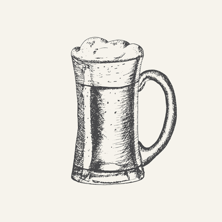 Glass mug with beer and beer foam overflowing over the edge isolated on white background. Hand drawn sketch in vintage engraving style. Light Alcohol Drink. Vector illustration for Oktoberfest Ilustrace