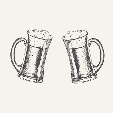 Glass mugs with beer and beer foam overflowing over the edge isolated on white background. Hand drawn sketch in vintage engraving style. Light Alcohol Drink. Vector illustration for Oktoberfest