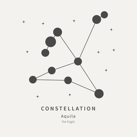 The Constellation Of Aquila. The Eagle - linear icon. Vector illustration of the concept of astronomy