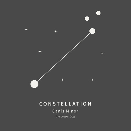 The Constellation Of Canis Minor. The Lesser Dog - linear icon. Vector illustration of the concept of astronomy Çizim