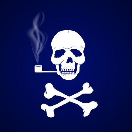 Skull with crossbones smokes a pipe on a dark blue background. Curls of tobacco smoke. Sign of the pirates. World No Tobacco Day. Template for card, banner, website, health portal. Vector illustration