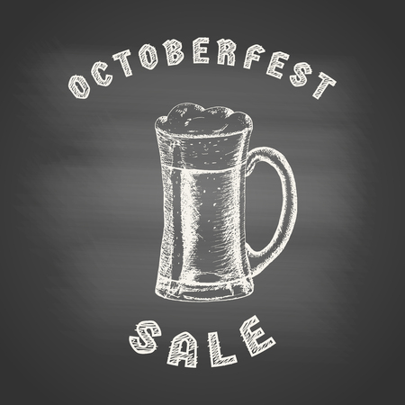 Octoberfest sale - chalk drawing of a glass mug with beer and beer foam overflowing over the edge on chalkboard. Hand drawn sketch in vintage engraving style. Vector illustration for Oktoberfest Çizim