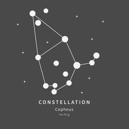 Die Konstellation des Kepheus. Der König - lineare Ikone. Vektor-Illustration des Konzepts der Astronomie Vektorgrafik
