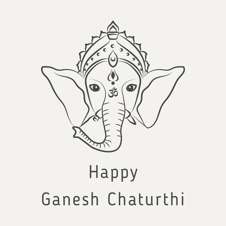 Happy Ganesh Chaturthi - greeting card for the Hindu holiday. Concept of Indian philosophy. Vector illustration of Hindu god lord Ganesha
