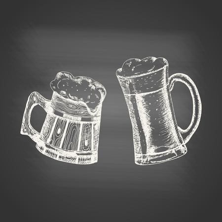 Glass and wooden mugs with beer and beer foam overflowing over the edge on chalkboard. Hand drawn sketch in vintage engraving style. Light Alcohol Drink. Vector illustration for Oktoberfest