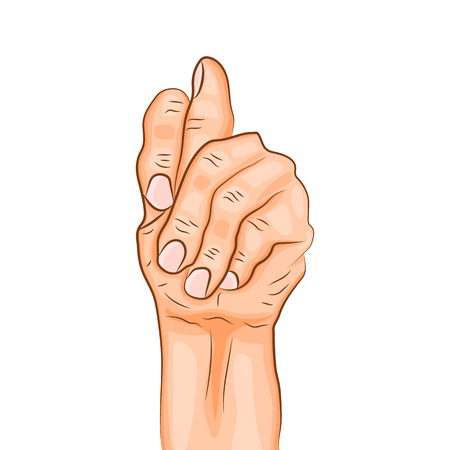 Figa mudra - gesture in yoga fingers. Symbol in Buddhism or Hinduism. Yoga technique for meditation. Realistic colored hand in gesture. Promote physical and mental health. Vector illustration
