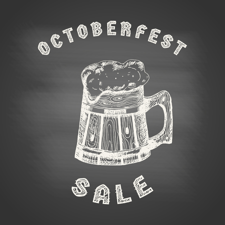 Concept of Octoberfest sale with chalk drawing of a wooden beer mug on chalkboard. Graphic design elements for menu, poster, brochure ad, packaging. Vector illustration for bar, cafe or restaurant