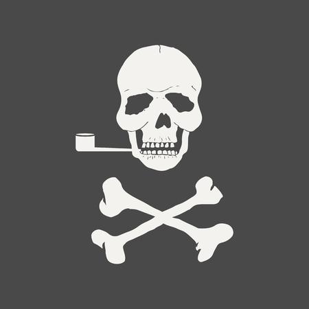 White skull with crossbones smokes a pipe isolated on a black background. Sign of the pirates. World No Tobacco Day. Template for card, banner, website, health portal. Vector illustration