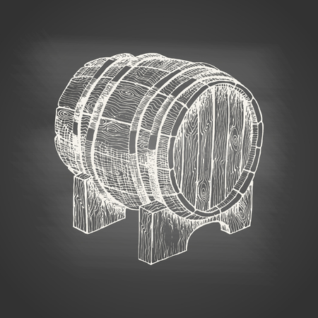 Wooden barrel with beer or wine - chalk drawing on the blackboard. Hand drawn sketch in vintage engraving style. Graphic design elements for poster, ad. Vector illustration for bar, restaurant