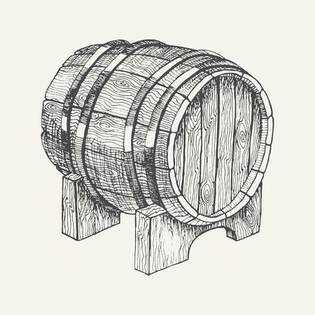 Wooden barrel with beer or wine isolated on white background. Hand drawn sketch in vintage engraving style. Graphic design elements for poster, ad, packaging. Vector illustration for bar, restaurant Vektoros illusztráció