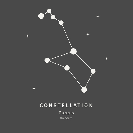 The Constellation Of Puppis. The Stern - linear icon. Vector illustration of the concept of astronomy
