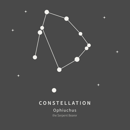 The Constellation Of Ophiuchus. The Serpent Bearer - linear icon. Vector illustration of the concept of astronomy