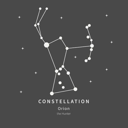 La Costellazione Di Orione. Il cacciatore - icona lineare. Illustrazione vettoriale del concetto di astronomia