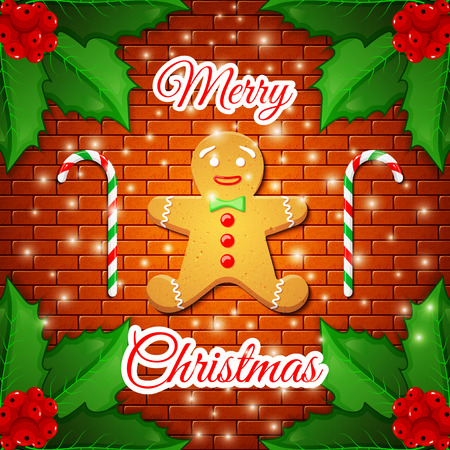 Merry Christmas - cute greeting card with gingerbread man and two candy canes in the frame of the leaves of Holly berries on on background of brick wall. Element for your design. Vector illustration