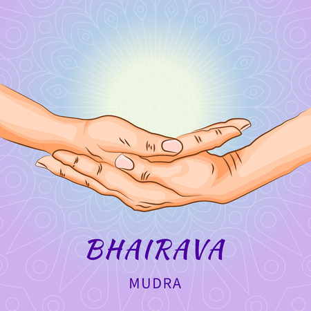 Bhairava mudra - gesture in yoga fingers. Symbol in Buddhism or Hinduism concept. Yoga technique for meditation. Promote physical and mental health. Vector illustration Illustration