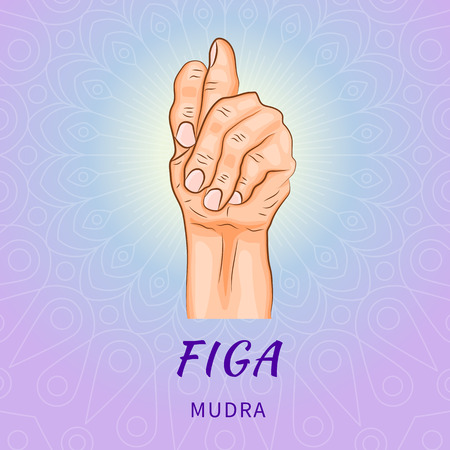 Figa mudra - gesture in yoga fingers. Symbol in Buddhism or Hinduism concept. Yoga technique for meditation. Promote physical and mental health. Vector illustration Stock Illustratie