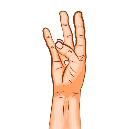 Window of wisdom mudra - gesture in yoga fingers. Symbol in Buddhism or Hinduism concept. Yoga technique for meditation. Promote physical and mental health. Vector illustration