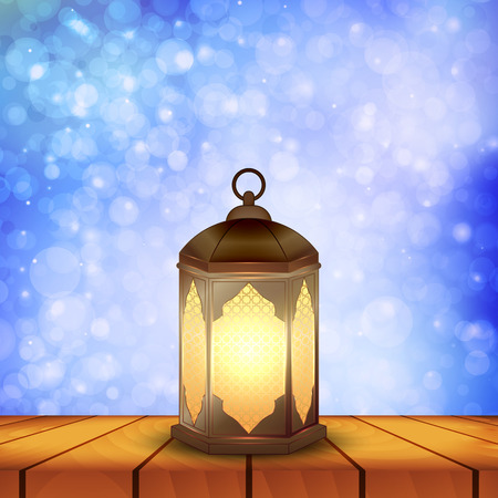 Islamic lantern on wooden table and blue background bokeh for Muslim Community festival. Bright beautiful arabic lamp. Design element for greeting card, invitation. Vector illustration Ilustração