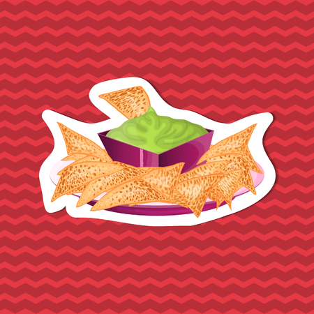 Delicious nachos with guacamole sauce - sticker of traditional Mexican cuisine on red striped background. Graphic design elements for menu, advertising, brochure. Vector illustration of fast food Çizim