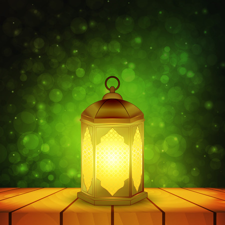 Islamic lantern on wooden table and emerald night background with bokeh for Muslim Community festival. Bright beautiful arabic lamp. Design element for greeting card, invitation. Vector illustration