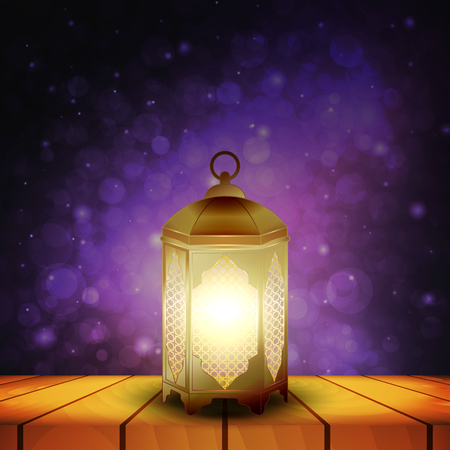 Islamic lantern on wooden table and purple night background with bokeh for Muslim Community festival. Bright beautiful arabic lamp. Design element for greeting card, invitation. Vector illustration
