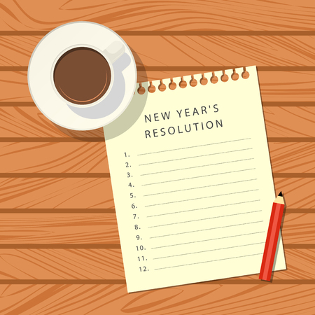 The notebook sheet with a list of new year's resolution, red pencil, calculator and cup of coffee on a wooden table. Top view. Vector illustration Vectores