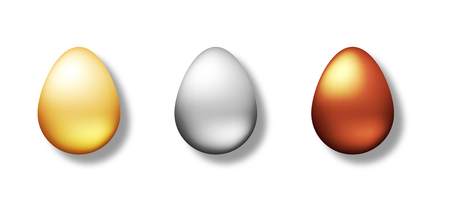 Set of golden, silver and bronze eggs isolated on white background. Realistic top view on the 3d object. Vector illustration for Easter